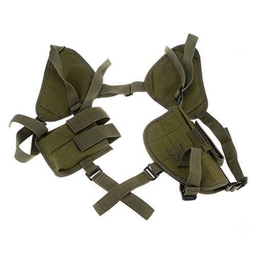 4-FQ Tactical Vertical Ambidextrous Horizontal Shoulder Holster with Double Magazine Holder(Green) (Tomb Raider Fancy Dress)