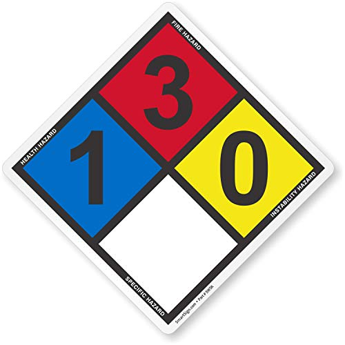 NFPA 704 Label By SmartSign - Ratings (1,3,0) Used For Acetone, Ethanol, Gasoline & More   Pack Of 5, 10