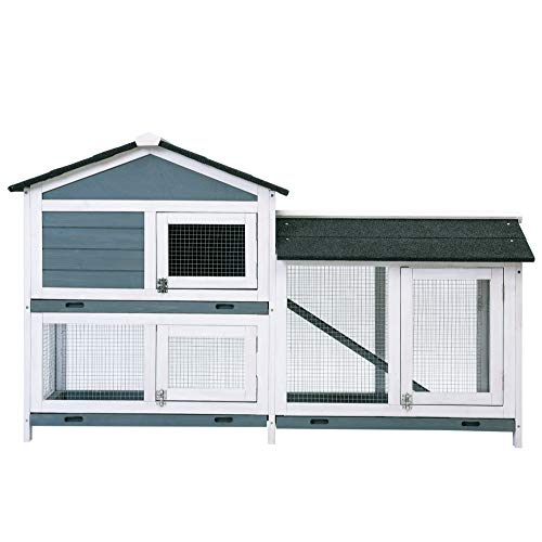 MIERES Pet Rabbit Hutch Wooden House Chicken Coop for Small Animals