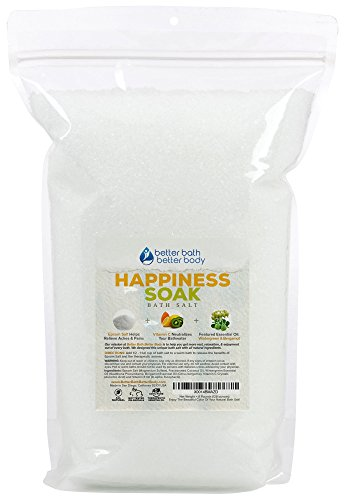 Happiness Bath Salt 128 Ounces Epsom Salt with Bergamot and Wintergreen Essential Oils Plus Vitamin C and All Natural Ingredients