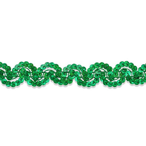 Mardi Gras Sequin Trim - Decorative Trimmings Sequin Trim New Orleans ,Kelly Green Holographic, 6 YD