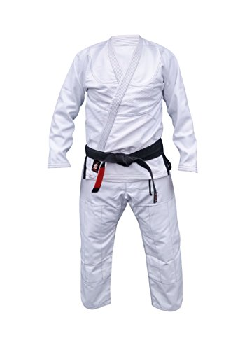 Your Jiu Jitsu Gear BJJ Gi Premium Contrast and Free Belt (White/black, A2 +- 5'8 height)