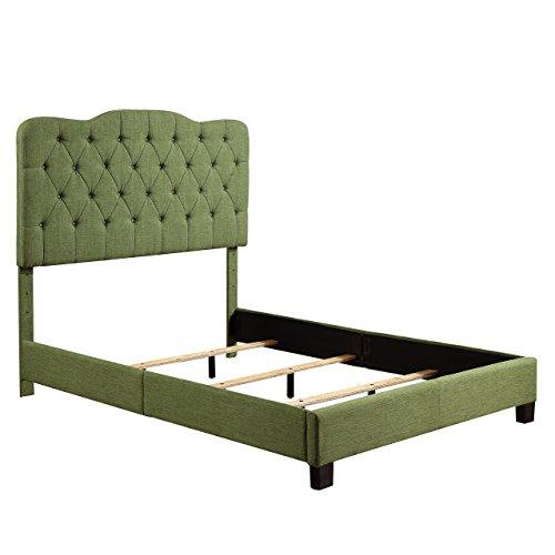 Millbury Home Elian Linen Upholstery Platform Bed, Queen, Green