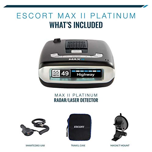 Amazon.com: Escort MAXII Platinum - Radar Laser Detector w/Smartcord Live, AutoLearn Technology, ESCORT Live App, Bluetooth, GPS, Speed Alerts, ...