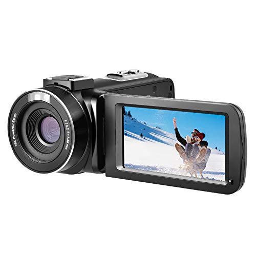 Video Camera Camcorder, FamBrow Full HD 1080p 24MP 3.0 Inch TFT LCD 270 Degrees Rotatable Screen 16X Digital Zoom Handheld Camera Recorder Camcorder Vlogging Video Camera for YouTube with 2 Batteries