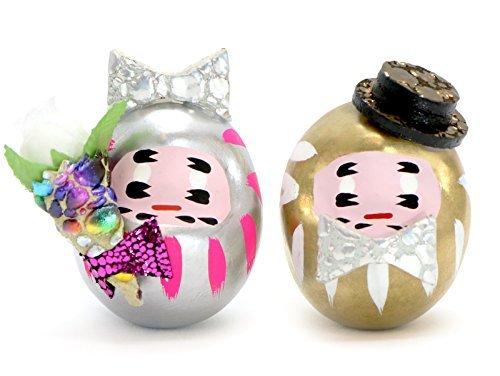 omnes Pop'n Daruma -Mini- (Pair Set) Japanese Daruma doll Kawaii, Wedding (Bridal Couple)