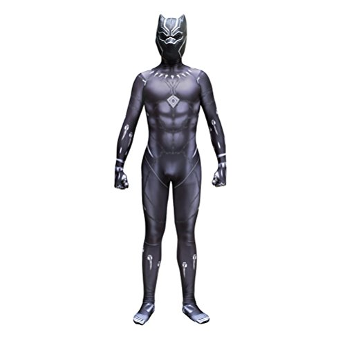 Black Panther Zentai Deluxe Polyester Jumpsuit Halloween Cosplay Costume+Mask Kids M -