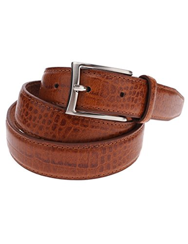 FLATSEVEN Mens Genuine Leather Crocodile Skin Embossed Silver Buckle Classic Belt (Y409), LightBrown