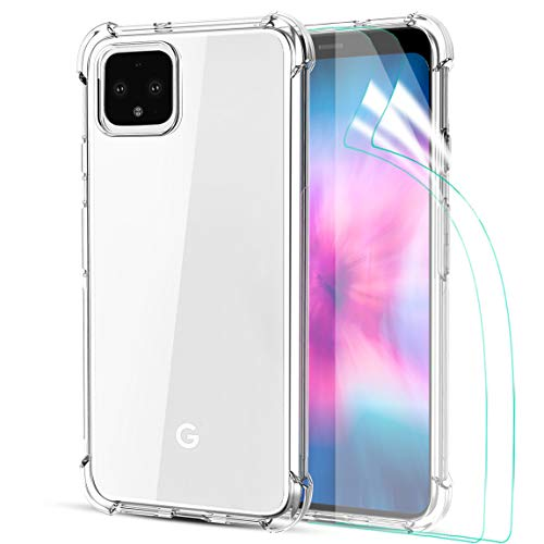 Tmacker Google Pixel 4XL Case, Google Pixel 4 XL Phone Case with 2 Pack HD Soft Screen Protector,Soft TPU Crystal Transparent Slim Anti Slip Full-Body Protective Phone Case-Clear