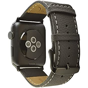 Deepra Black Italian leather band - compatible with Apple watch 42mm