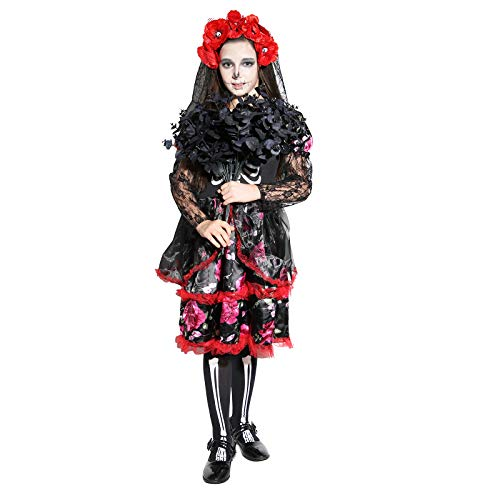 Girls Skeleton Costume Kids Halloween Zombie Bride Fancy Dress Cosplay-Bride(4-6 Year) -