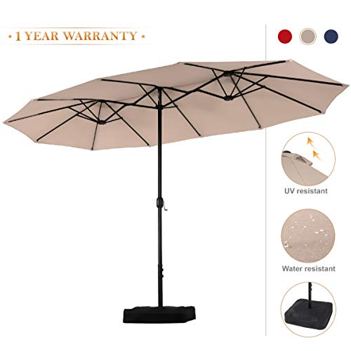 PHI VILLA 15ft Double-Sided Extra Large Patio Umbrella (Base Included) Outdoor Twin Umbrella (Beige)