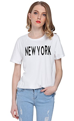 So'each Women's New York Letters Graphic Printed Tee T-shirt Tops