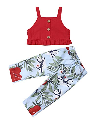 (VISGOGO 1-6 Yrs Toddler Baby Kid Girl Outfit Halter T-Shirt Top + Flared Pants Clothes Set (Red, 3-4 Years))
