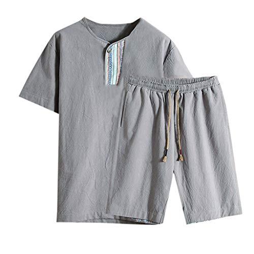 Summer Fashion Men's Cotton and Linen Short Sleeve Shorts Set Suit Tracksuit Gray