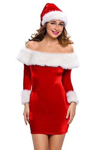 Sensfun Womens Girls Slash Neck Sexy Christmas Costume Mrs Santa Three Quarter Party Costume M ()