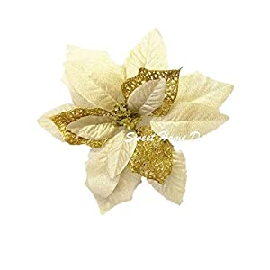 "Sweet Home Deco 9""W Silk Shinning Sprakled Poinsettia Artificial Flower Heads (Set of 5) Christmas Decorations (Gold)"