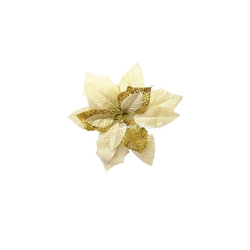 silk flower arrangements sweet home deco 9''w silk shinning sprakled poinsettia artificial flower heads (set of 5) christmas decorations (gold)