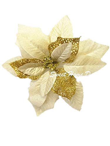 Sweet Home Deco 9''W Silk Shinning Sprakled Poinsettia Artificial Flower Heads (Set of 5) Christmas Decorations (Gold) ()