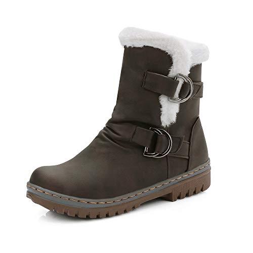 CáLidos De Nieve Marrón Piel Zapatos Mujer CláSicas Botines Damas Bootie Martin Short Botas OHQ Hebilla qwCPntvE6