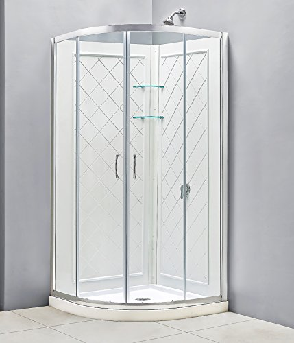 DreamLine Prime 38 in. D x 38 in. W Kit, with Corner Sliding Shower Enclosure in Chrome, White Acrylic Base and (Acrylic Shower Bath)