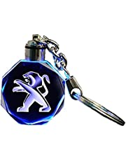Keychain with Peugeot Car Logo and Light