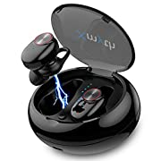 #LightningDeal True Wireless Earbuds Bluetooth 5.0, Waterproof Sports Headphones for Running/Gym, Noise Cancelling Earphones with Built-in Mic, 20H Playtime, in-Ear Headset with Charging Case, 3D Stereo HiFi Sound