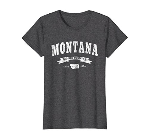 Womens Vintage Montana Shirt Distressed Tee Mt Big Sky Country Large Dark Heather