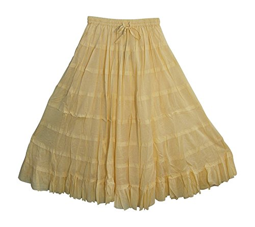 Crinkled Tiered Dress - B Dressy Yoga Plus Bohemian Gauze Cotton Tiered Crinkled Broomstick Long Skirt Ombre,SolidCream
