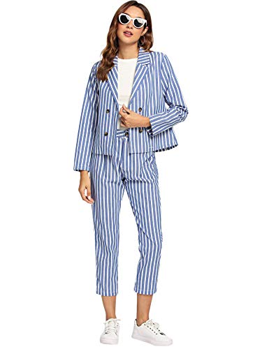 MAKEMECHIC Women's Two-Piece Striped Double Button Breasted Lightweight Blazers Jackets with Pants Multicolor - Blazer Jacket Striped