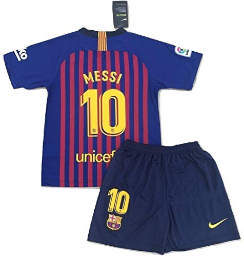 Messi #10 New 2018-2019 FC Barcelona Home Jersey & Shorts for Kids/Youth (9-10 Years Old) Red, Blue (Fc Barcelona Jersey Kids)