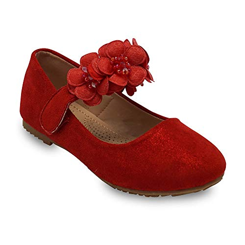 Girls Glitter Suede Mary Jane Ballerina Flat Shoes Princess Dress Shoes (Toddler/Little Kid/Big Kid) Red 10