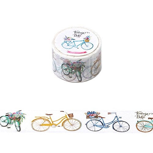 Set of 5 Decorative Paper Tape Washi Masking Tape for DIY and Gift Wrapping 30mmx8m, Bicycle (Bicycle Tape Dispenser)