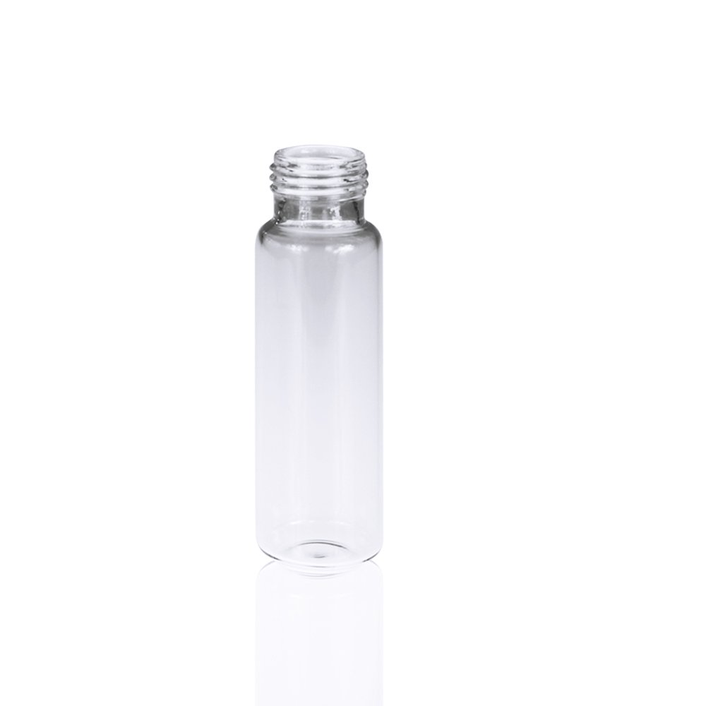 ALWSCI Clear Glass Round Bottom Screw Thread Headspace Vial, 18mm Screw Top, 20mL Capacity, Pack of 100