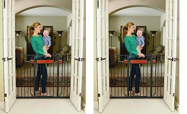 Regalo Home Accents Extra Tall and Wide Baby Gate, Bonus Kit, Includes Décor Hardwood, 4-Inch Extension Kit, 4-Inch Extension Kit, 4 Pack Pressure Mount Kit and 4 Pack Wall Cups and Mounting Kit (2) by Regalo