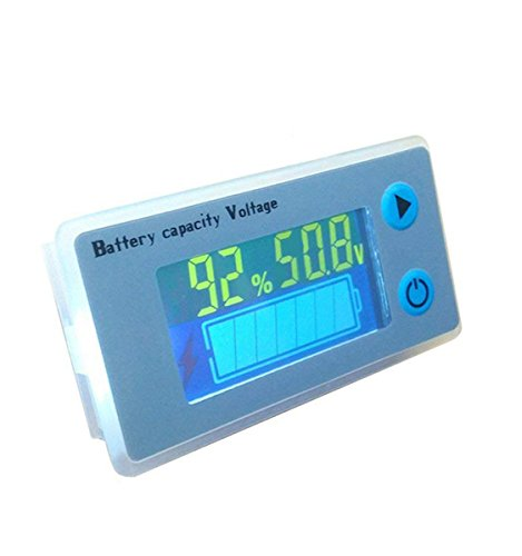 48V LCD Lead Acid Battery Capacity Meter Voltmeter Temperature Display Battery Fuel Gauge Indicator Voltage Monitor ()
