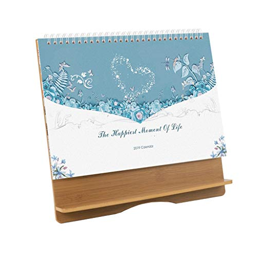 Desk Calendar 2019 Wooden Creative Desktop Plan de Este Cuaderno Cuaderno pequeño Plan de Mesa Calendario (Color : D)