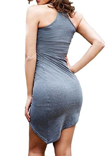 Vestito Coolred Pacchetto Colore Scivolare Sbilanciato Aperto Scuro Solido Grigio Hip Indietro donne Orlo YT8rYcqz