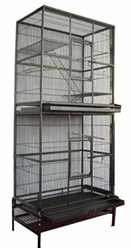 2 Color, New Large and Tall Double Stackable Wrought Iron Ferret Chinchilla Sugar Glider Small Animal Cage with Metal Tray and Removable Stand (Black Vein)