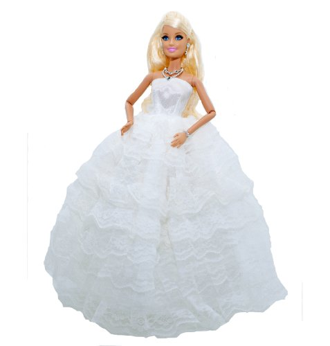 """Barbie Doll Clothes: Gorgeous White Ruffled Strapless Evening Gown or Wedding Dress w/ Veil and White Gloves Plus Our Exclusive Lilly and the Bee Novelties """"Pretty Little Princess"""" Hot Pink Bracelet, Baby & Kids Zone"""