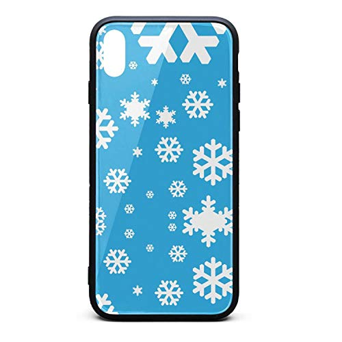 (Blue Snowflakes Printing iPhone X Case Plate and Soft TPU/Shock Proof/Anti-Finger Double Protection Phone Back Case Cover for iPhone X)
