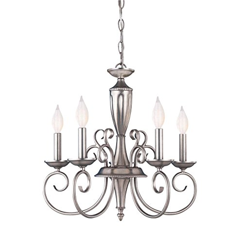 (Chandeliers 5 Light with Pewter Finished Candelabra Base Bulbs 20 inch 300 Watts)