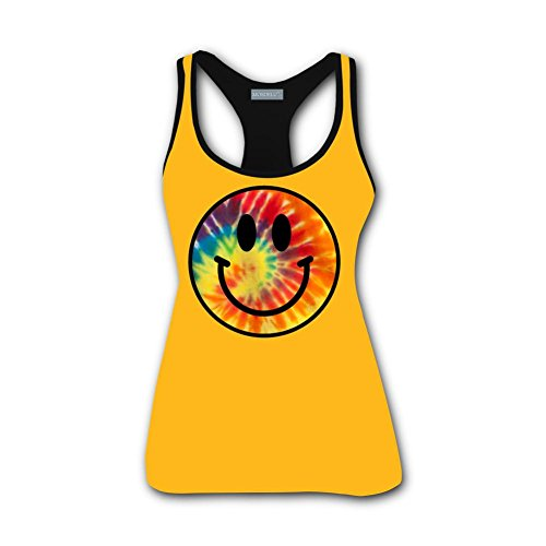 QUANSHI Womens Tank Tops Tie-Dyed Smiley Face Racerback Vest Sleeveles Workout T (Happy Shirts T-shirt Sweatshirt)