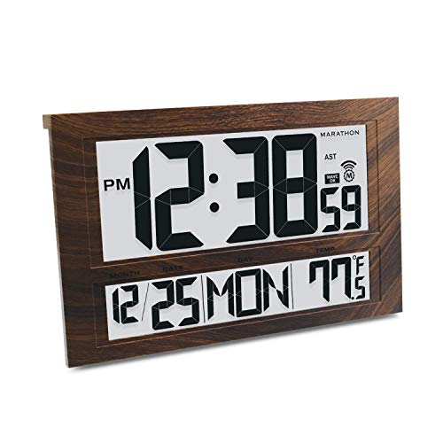 Marathon CL030025WD Commercial Grade Jumbo Atomic Wall Clock with 6 Time Zones, Indoor Temperature and Date (Wood Tone)