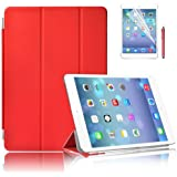 New iPad Air (iPad 5) with Retina Display Premium Quality Case Cover in with Front & Back Protection Smart Cover With Magnetic Auto Wake & Sleep Function - Full Grade Leather (PU) with Smooth Satin Inner Cloth with Screen Protector (Red)