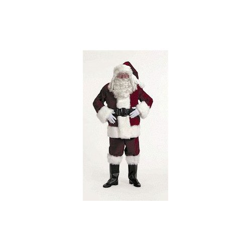 Exquisite Dark Velvet Santa Suit Adult Costume - - Red Velvet Santa Suit