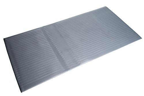 Bertech Anti Fatigue Vinyl Foam Floor Mat, 3' Wide x 12' Long x 3/8'' Thick, Ribbed Pattern, Gray, Bevelled on All Four Sides (Made in USA)