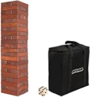 JOYMOR 66PCS Giant Tumble Tower, 2.74ft Tall Pine Wooden Toppling Timber Game with 1 Dice Set - Classic Block