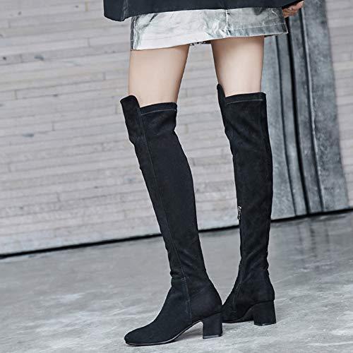 Square Den Stretch Combat Heel Kniehohe Lange Boots Stiefel Reißverschluss Militär Mid Head Frauen Block Sexy über Warme Seitlicher Reitstiefel n5TqaxzX