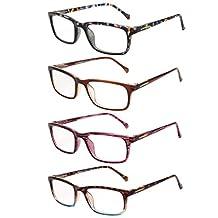 LIANSAN Readers Eyeglasses Spring Hinges with +1.0 1.25 1.5 1.75 2.0 2.25 2.5 2.75 3.0 3.25 3.5 3.75 4.0 Reading Glasses Lens for Men Women L3708 4-PACK +3.75